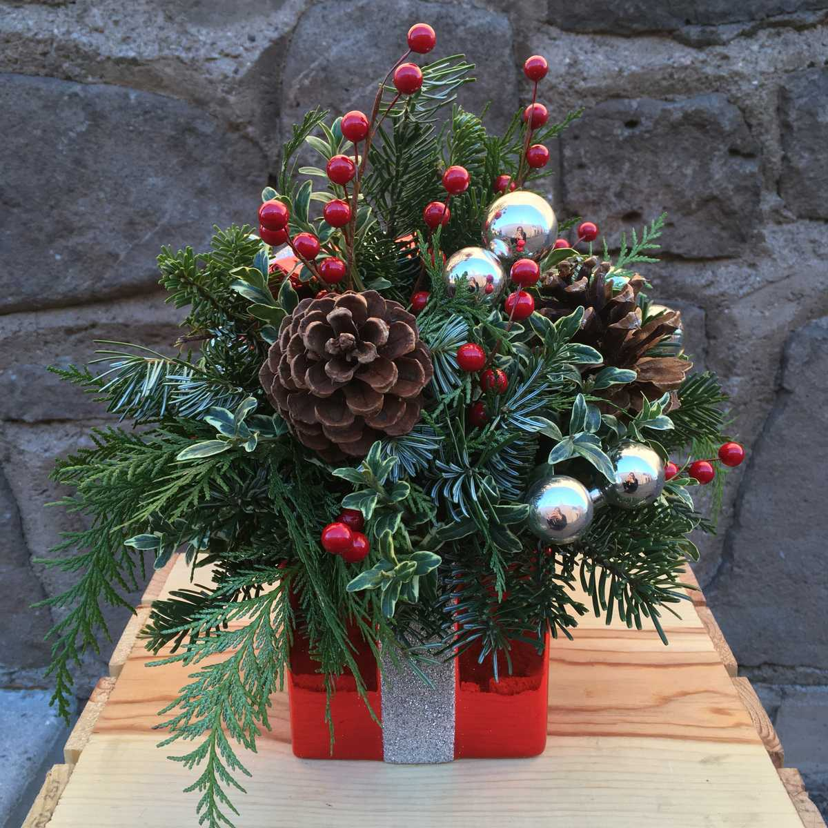 Gift Wrapped Evergreen Arrangement