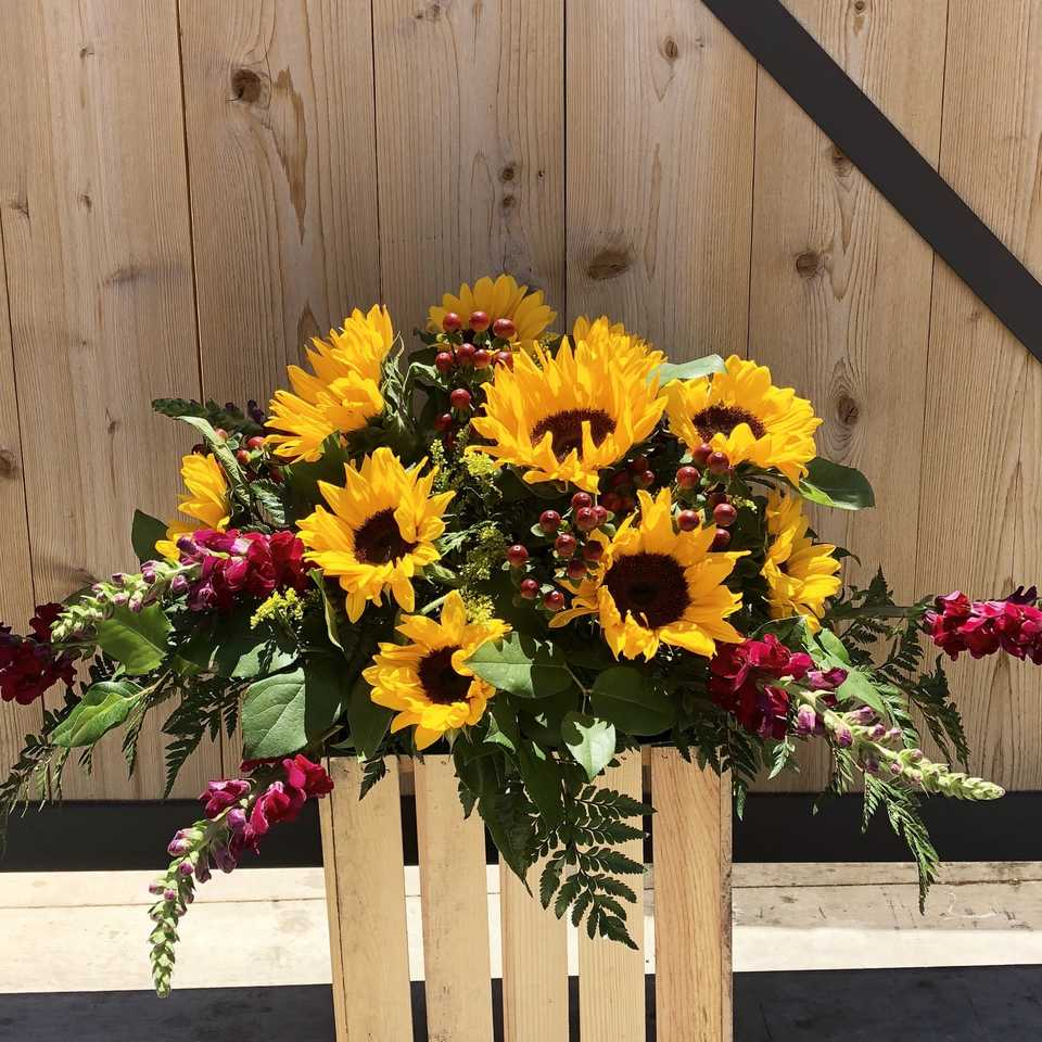 Sunflower Half-Casket Funeral Spray