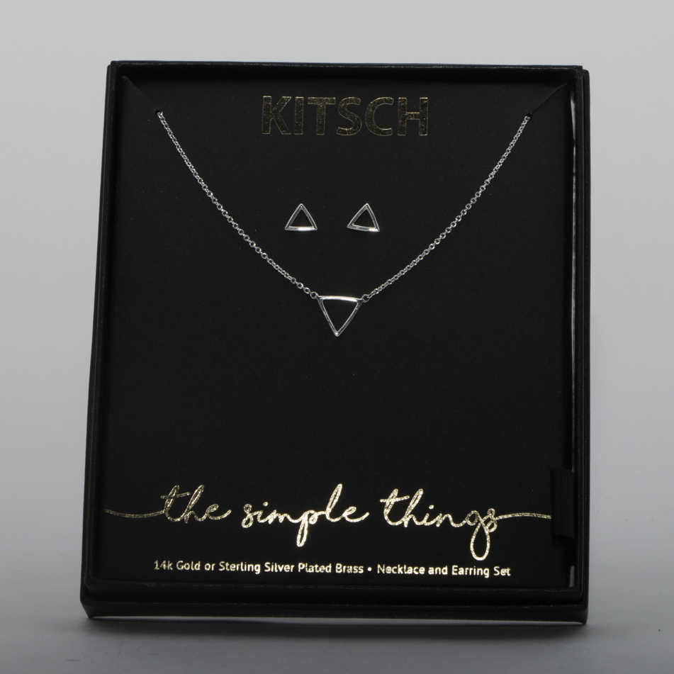 Silver Triangle Jewelry Set